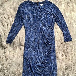 CACHE Blue Snake Skin Dress